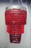 Red & Burgundy mini Party bead chandelier 3 Tiers Beaded Chandelier