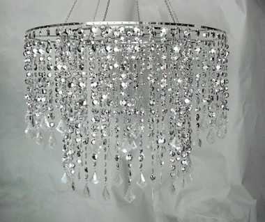 Large Diamond cut beads chandelier 48 Inches Long