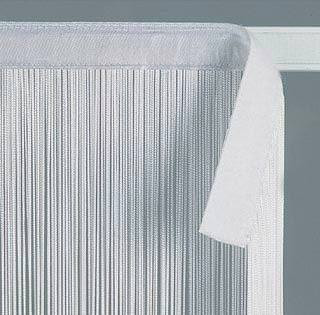 White String Curtains with Velcro Strip Heading - 3 Feet by 10 Feet