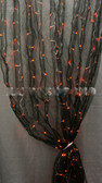 Black Organza - Orange LED Lighted Curtains - 4 Feet by 8 Feet lenght