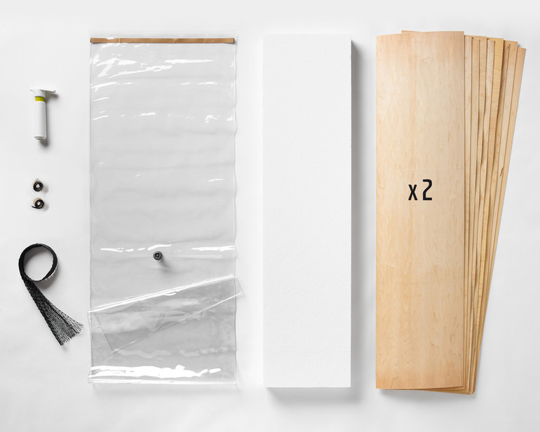 """A 20x70"""" Thin Air Press Kit, plus two 9-layer sets of maple longboard 12 x 47"""" veneer, and a slab of foam for shaping your custom mold."""