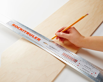 The RockitRuler has multiple uses, from finding centre to  ensuring that the truck holes on your custom board are perfectly square to each other.