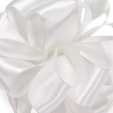 "4"" White Wired Contessa Satin Ribbon"