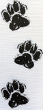 White / Black Doggie Feet Ribbon
