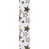 White / Gold Printed Star Ribbon