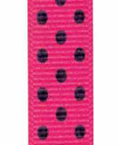 Shocking Pink / Black Grosgrain Confetti Dots