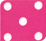 Shocking Pink / White Grosgrain Polka Dots