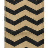 Black Chevron Burlap Ribbon