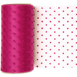 Fuchsia Dotted Tulle Fabric