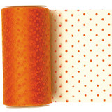 Orange Dotted Tulle Fabric