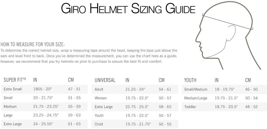 Giro ski helmet size chart heart impulsar co