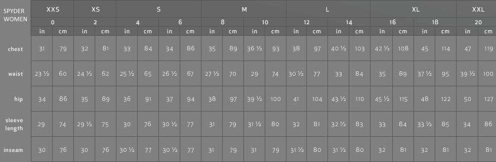 Spyder ski jacket size chart