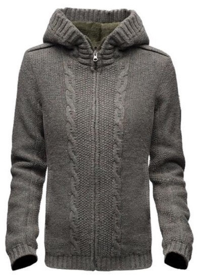 Moss green ladies zip sweater by Nobis, the Danika.    Wool/anti-pilling acrylic blend