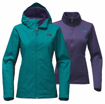 The North Face Women's Arrowood Triclimate Jacket shown here in Harbor Blue/TNF Black. NF00CUS2
