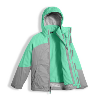 The North Face Girl's Mountain View Triclimate Jacket shown here in Bermuda Green (Open). NF0A34UW
