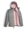 The North Face Girl's Osolita Triclimate Jacket shown here in Metallic Silver (Open). NF0A34UM