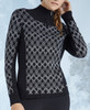 Nils Ski Sweater | Women's Hope Zip-Turtleneck |  6057  in Black/Black-White close up