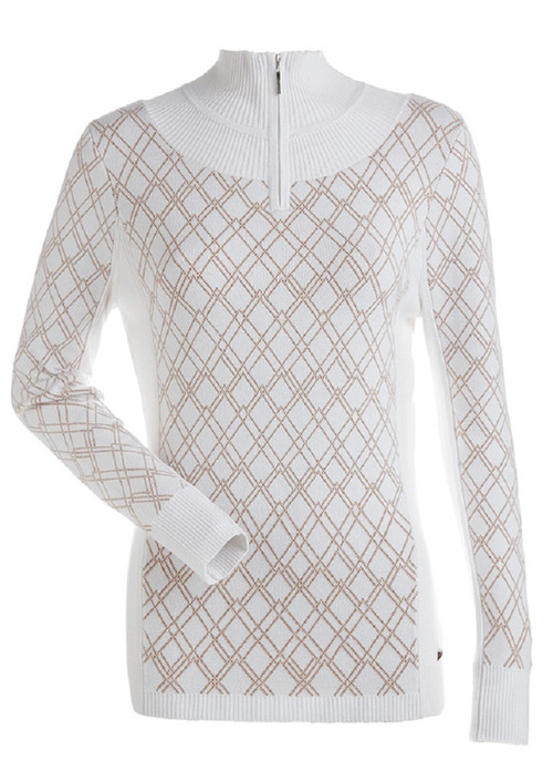 Nils Ski Sweater | Women's Hope Zip-Turtleneck |  6057  in 07 White/Copper