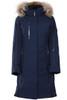 Descente Winter Coat | Womens Quebec | Fur Trimmed | D89761A  Dark Night Jacquard blue