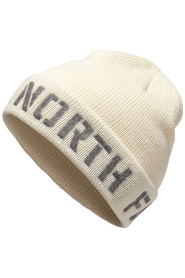The North Face TNF Felted Logo Beanie | Men's | NF0A355Z | L0E | Vintage White | TNF Black