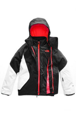 The North Face Kira Triclimate Ski Jacket | Girl's | NF0A34WP | KY4 | TNF Black | TNF White | Front