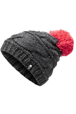 The North Face Triple Cable Beanie | Women's | NF00CLN6 | 8GV | TNF Dark Grey Heather | Teaberry Pink