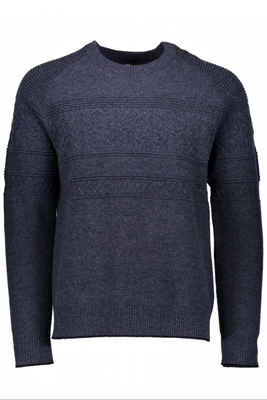 Obermeyer Sweater | Men's Textured Crew Neck | 26017 | 8162 | Trident | Front