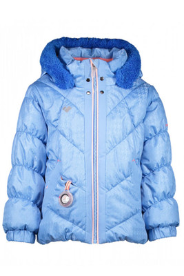 Obermeyer Ski Jacket | Girl's Bunny-Hop Jacket | 51042 | 8170 | Bo Peep Blue | Front | Faux-fur trim