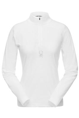 Spyder Shimmer Zip T-Neck | Women's | 182342 | 001 | White | Front