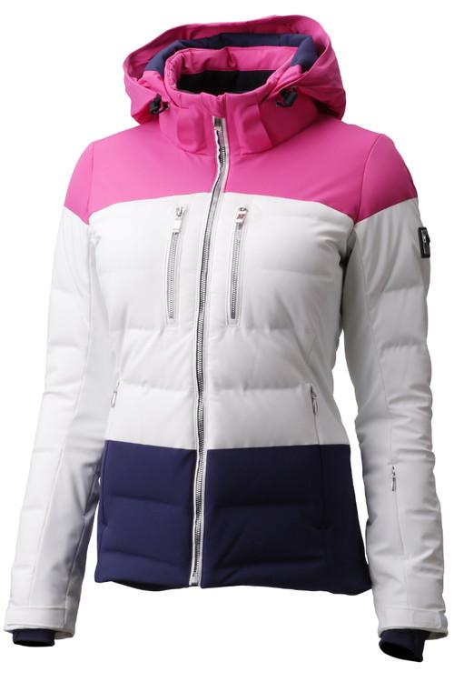 Descente Sienna Women's Ski Jacket | DWWMGK11 in Super White and Pink