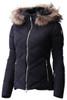 Descente Anabel Fur Women's Ski Jacket | DWWMGK30F in Black, with hood fur trim