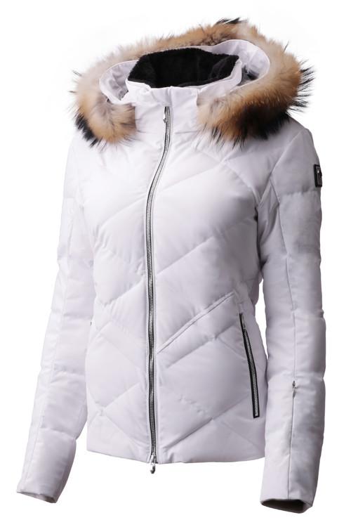 Descente Anabel Fur Women's Ski Jacket | DWWMGK30F in Super White, with fur hood trim