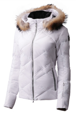Descente Anabel Fur Women's Ski Jacket | DWWMGK30F in Super White, with fur hood trim