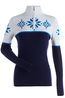 Nils Quinlan Snowflake Sweater | Women's | 6018 in Navy, White and Arctic blue