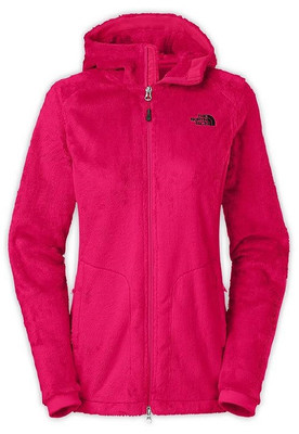 North Face Osito Hooded Women's Parka in a plush, high-pile fleece zips up the front, with side stretch panels and two side zippered pockets, and a long extra coverage length. Shown in bright pink