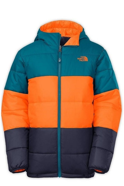 North Face Reversible JW Insulated Boy's Ski Jacket with hood, in Egyptian Blue, with an orange center band