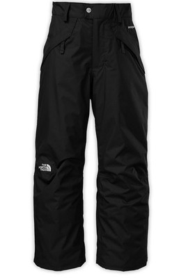 "North Face SEYMORE Insulated Boys Ski and Snowboard Pants - waterproof boys' ski pants that are crafted with 60 g insulation to buffer the cold during chilly chairlift rides to the top of the hill. Grow cuffs can be adjusted to extend the length – and life – of the shell pant by extending an extra 2"", available in black, as well as other colors"