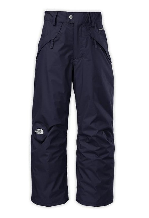 """North Face SEYMORE Insulated Boys Ski and Snowboard Pants.  New waterproof boys' ski pants that are crafted with 60 g insulation to buffer the cold during chilly chairlift rides to the top of the hill. Grow cuffs can be adjusted to extend the length – and life – of the shell pant by extending an extra 2"""", in dark blue"""