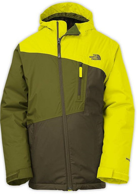 North Face GONZO Jacket is a Boys' Insulated Full Zip and Hooded Jacket for Ski and Snowboarding.  Fixed hood with liner and a powder skirt, in yellow top and left sleeve, and two tone green on the right arm and bottom