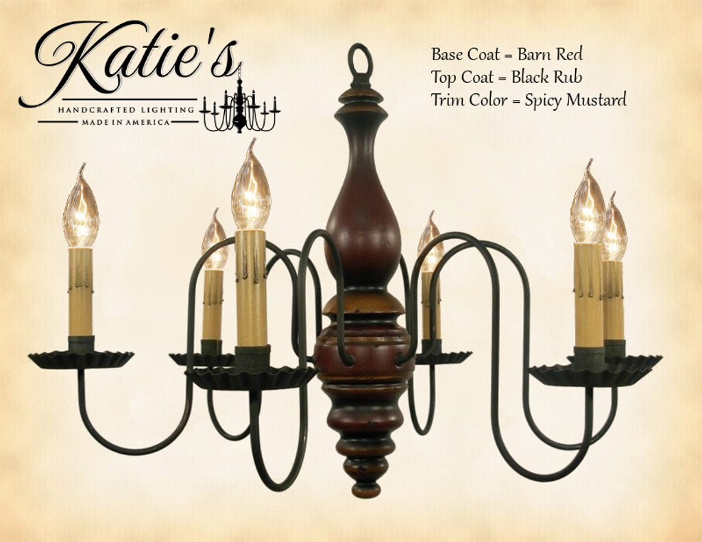 Katie's Handcrafted Lighting Anderson House Wood Chandelier Pictured In: Base Coat Color = Barn Red, Top Coat Color = Black Rub, Trim Color = Spicy Mustard
