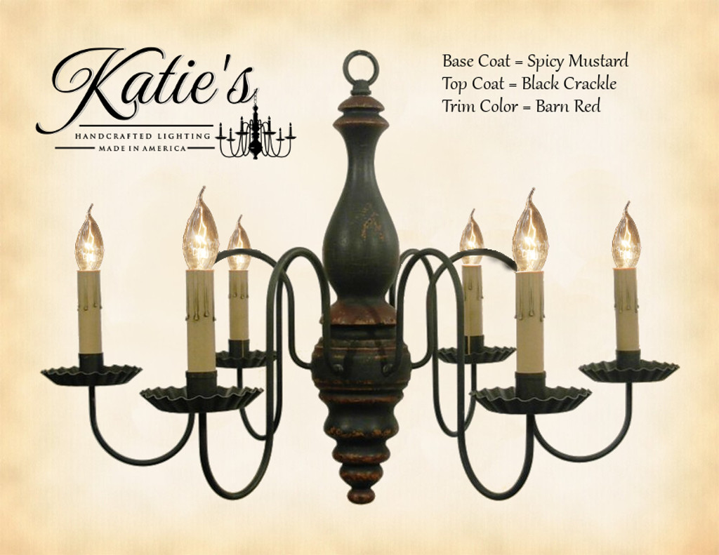 Katie's Handcrafted Lighting Anderson House Wood Chandelier Pictured In: Base Coat Color = Spicy Mustard, Top Coat Color = Black Crackle, Trim Color = Barn Red
