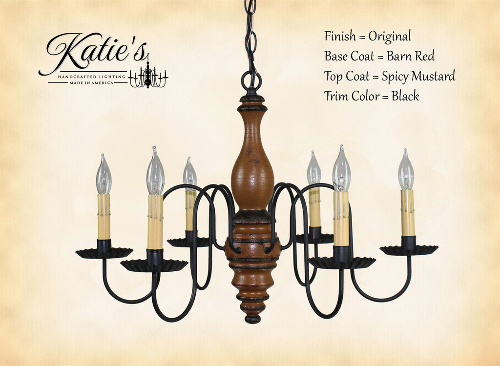 Katie's Handcrafted Lighting Anderson House Wood Chandelier Pictured In Original Finish: Base Coat Color = Barn Red, Top Coat Color = Spicy Mustard, Trim Color = Black