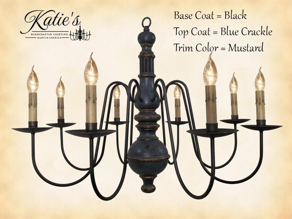 Katie's Handcrafted Lighting Hamilton Wood Chandelier Pictured In: Original Finish, Base Coat Color = Black, Top Coat Color = Blue Crackle, Trim Color = Mustard