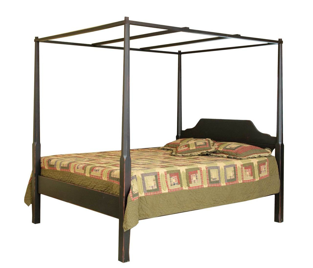 Antique Pencil Post Rice Bed Gray White And Copper Bedroom: Pencil Post Queen Bed With Canopy
