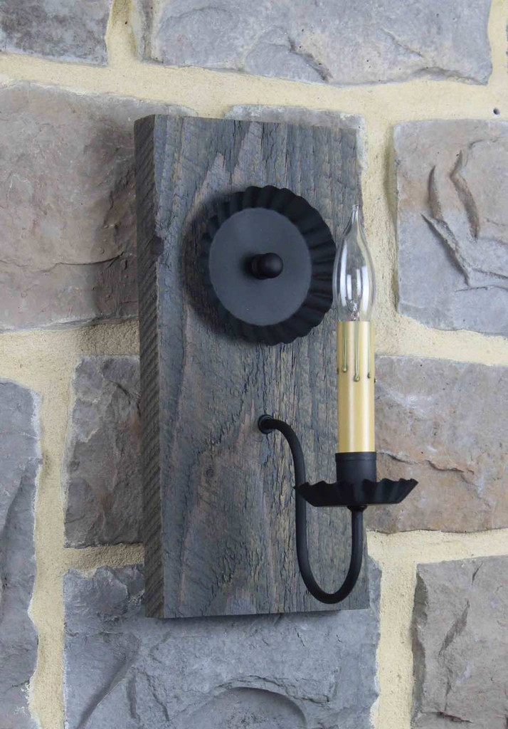 Country Electric Wall Sconces : Reclaimed Barn Wood Lighting - Barn Wood Electric Wall Sconce - Rustic Barnwood Sconces
