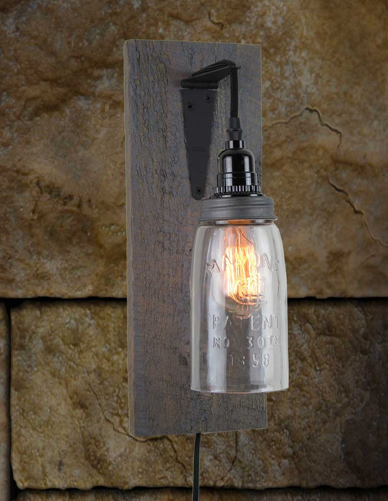 Reclaimed barnwood mason jar wall sconce rustic barn wood sconces click here to enlarge amipublicfo Images