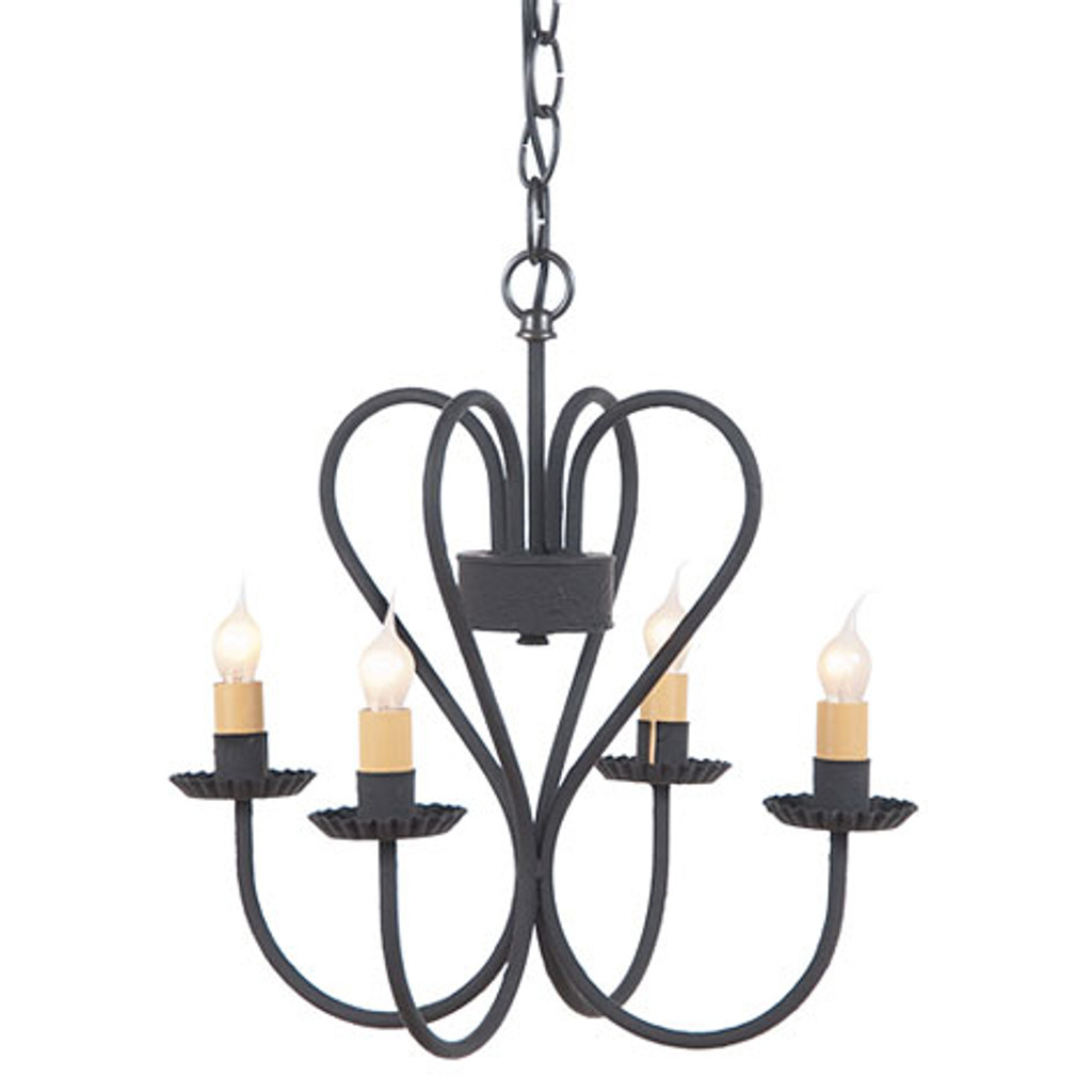 Irvin's Primitive Georgetown Chandelier Finished In Textured Black