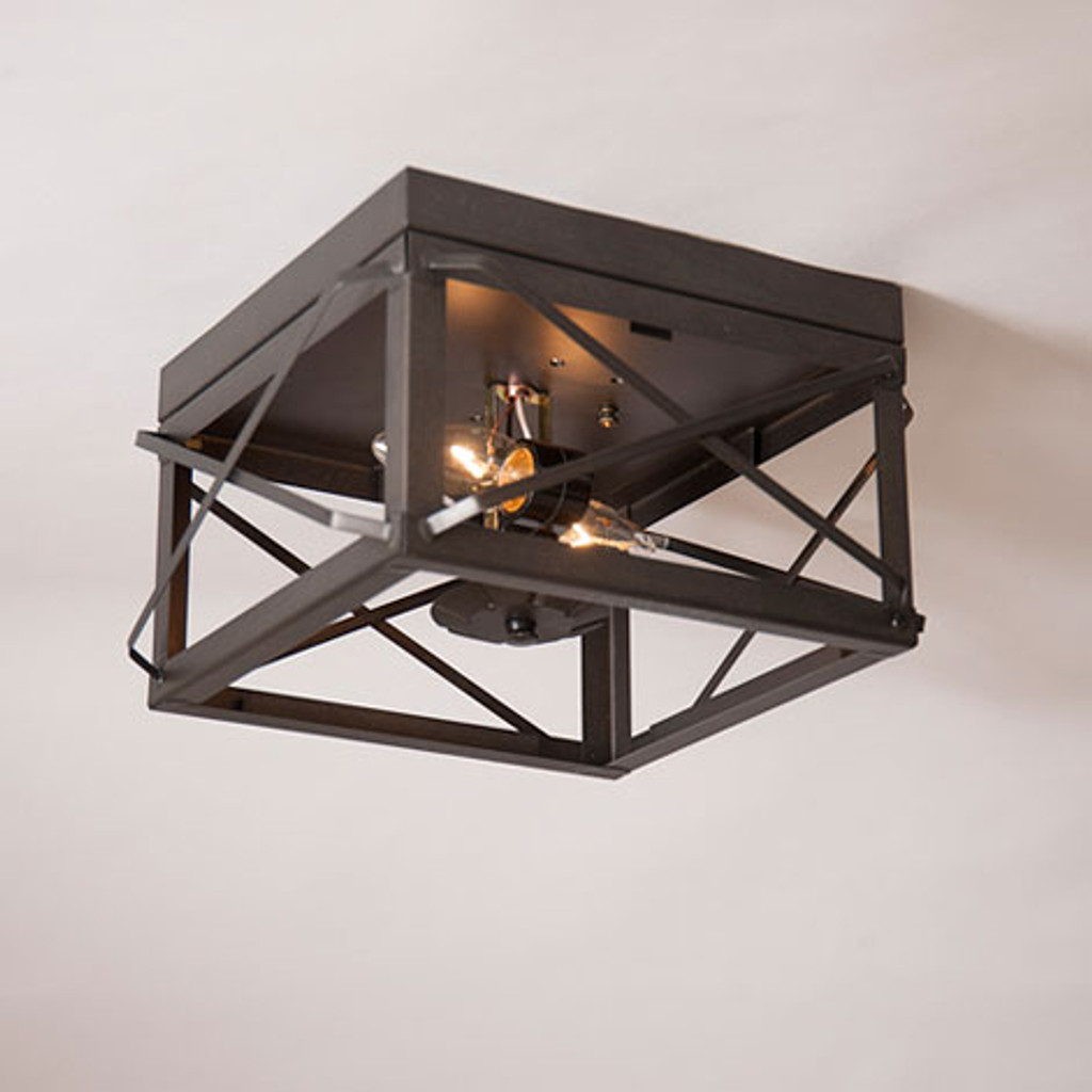 Irvin's Double Ceiling Light With Folded Bars Finished In Kettle Black