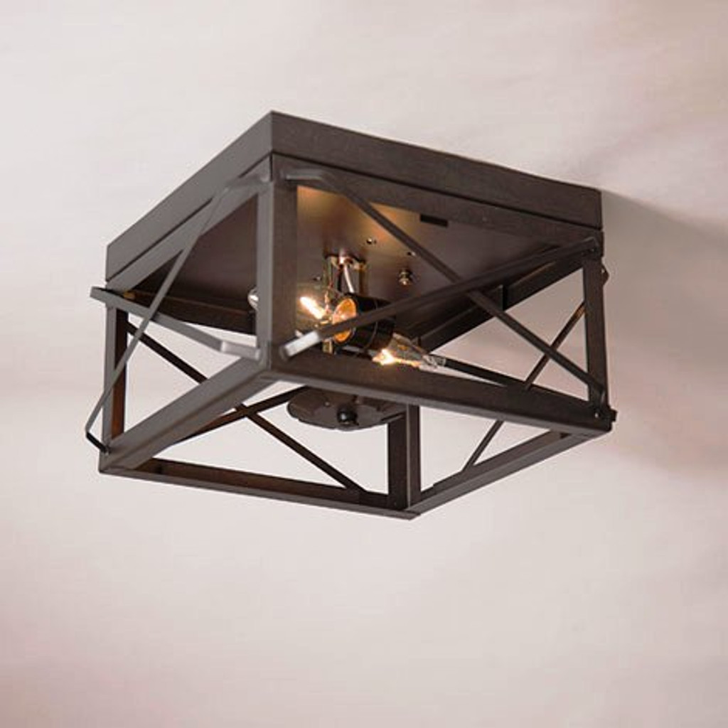 Irvin's Double Ceiling Light With Folded Bars Finished In Country Tin