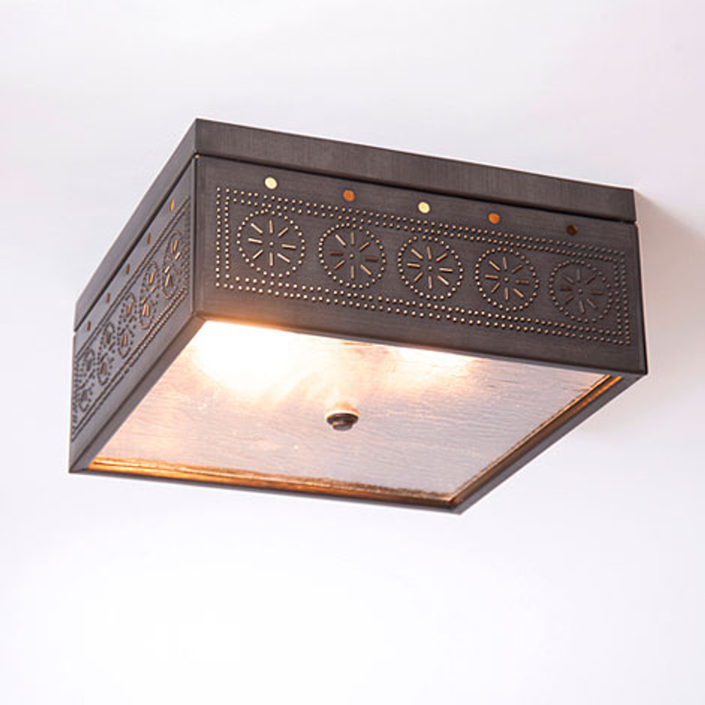 Irvin's Square Ceiling Light With Chisel Design Finished In Kettle Black
